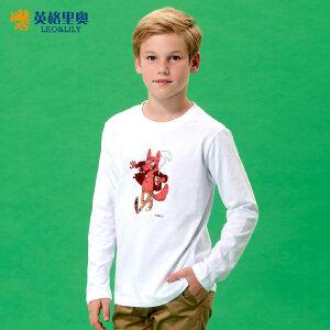 男童白色t恤长袖纯棉圆领卡通上衣2018新款春秋装儿童打底衫体恤