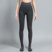 秋冬季女连裤袜条纹收腹高腰加厚加绒显瘦黑色连脚美腿袜保暖裤袜
