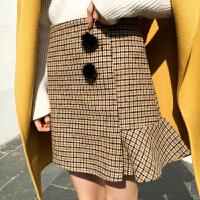 春季2018新款韩版千鸟格毛呢半身裙女显瘦不规则荷叶边短裙148 黄色