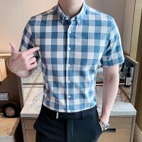 短袖衬衫男 2019夏季新款格子短袖衬衫男士韩版衬衣商务休闲纯棉寸衫潮
