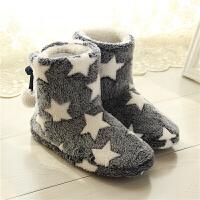 棉拖鞋女冬季包跟厚底室内家居靴加绒高帮保暖防滑软底可爱毛拖鞋