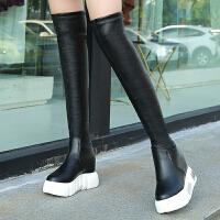 过膝长靴女秋冬季2018新款厚底内增高弹力靴加绒女靴子长筒靴