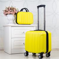 18寸登机密码箱16寸小行李箱女迷你可爱拉杆箱18寸万向轮旅行箱子 黄色 子母箱