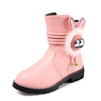 女童靴子宝宝短靴棉鞋2017秋新款女童鞋中大防滑雪地靴皮靴