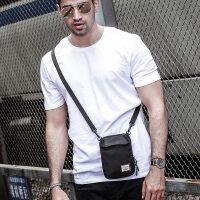 蹦迪嘻哈包潮牌ins手机包腰包男士休闲单肩斜挎背包迷你小挎包男 黑色