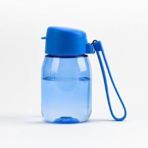 特百惠新品 嘟嘟企鹅杯350ML随手杯便携防漏迷你学生儿童塑料水杯轻紫蓝