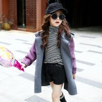 女童呢子大衣2017装新款公主韩版羊羔毛童装中大童儿童外套潮 紫色 加绒