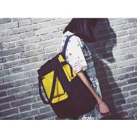 书包女韩版高中学生电脑包背包帆布双肩包女百搭世帆家SN5545 黑配黄 ww166