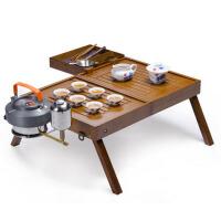 户外旅行茶具套装 便携式功夫茶具四合一户外整套车载茶具竹茶盘