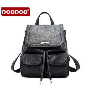 【支持礼品卡】DOODOO 2017新款包包女包双肩包时尚欧美风百搭背包学生包旅游书包女士包包 D6005