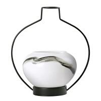 韦美 新中式摆件 插花花瓶 中式客厅陶瓷花器样板房铁艺装饰品