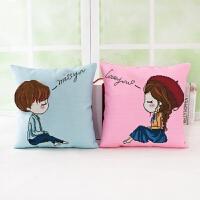 绣印花5D十字绣抱枕情侣卡通动漫个性靠枕头一对沙发汽车靠垫 想你+爱你 一对枕套