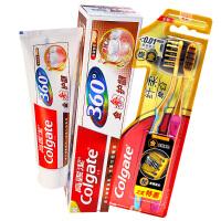 高露洁(Colgate) 纯金护龈 牙膏套装(360金参护龈牙膏 200g+纤柔炭金牙刷×2)