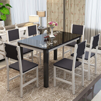 餐桌椅组合6人现代简约家用小户型烤漆餐桌钢化玻璃餐桌长方形桌