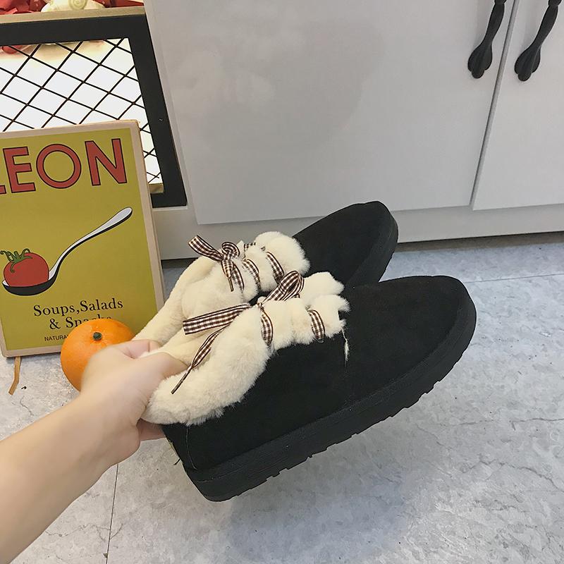 雪地靴女冬2018新款原宿可爱系带面包鞋学生加绒棉鞋短靴豆豆鞋女   【新款上新,支持七天退换货,欢迎购买】