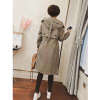 风衣外套女18春季新款韩版女装中长款后背刺绣五角星长袖连帽外套