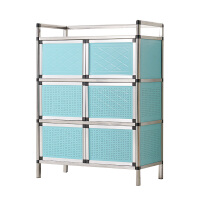 不锈钢碗柜 厨房柜子储物柜 餐边柜茶水柜置物柜收纳柜小橱柜简易 双门