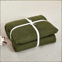 当当优品家纺 全棉日式针织床品 1.5米床 床笠四件套 纯色草绿