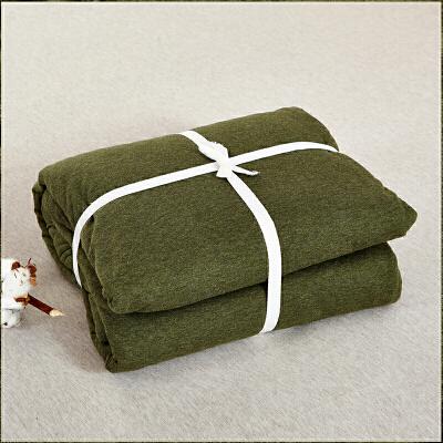 当当优品家纺 全棉日式针织床品 1.5米床 床笠四件套 纯色草绿当当自营 MUJI制造商代工