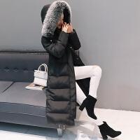 2018冬季新款羽绒服女中长款过膝加厚加长大毛领连帽修身外套