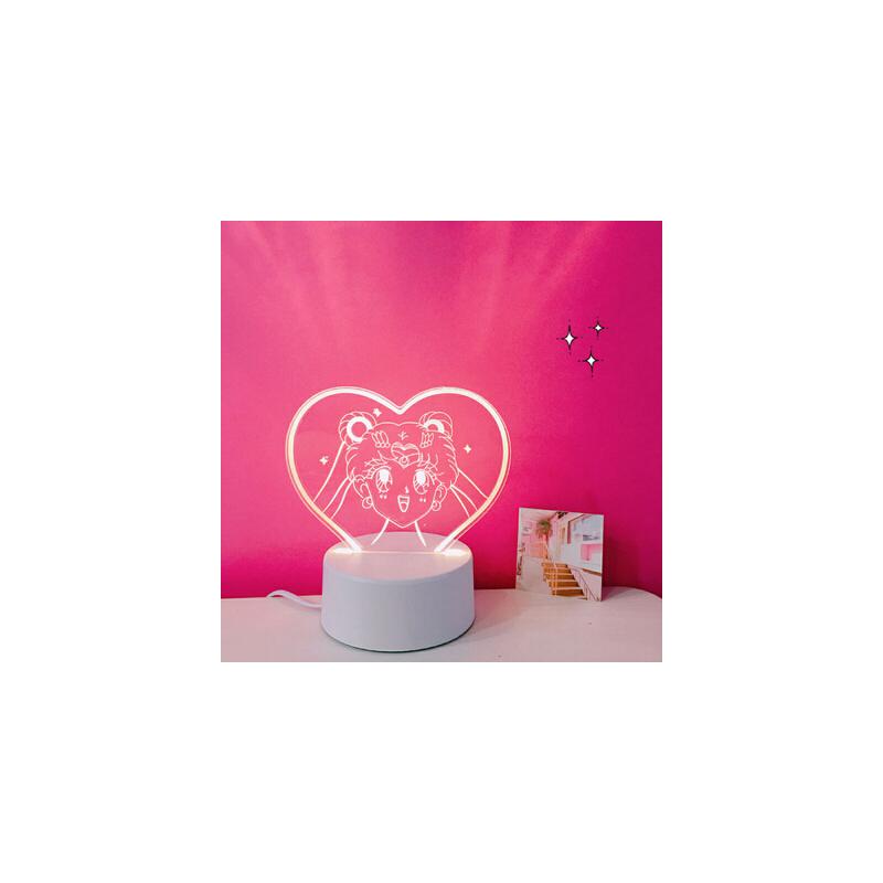 520情人节韩国ins少女心爱心房间装饰LED台灯美少女战士小夜灯道具摆件礼物