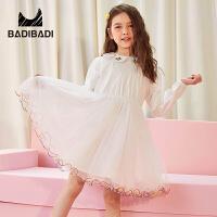【限时抢:69】巴拉巴拉旗下 巴帝巴帝童装女童甜美白色纱裙19春新款儿童长袖连衣裙