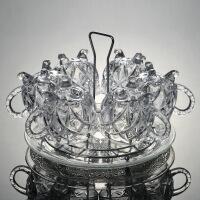 【家装节 夏季狂欢】创意泡茶耐热杯子欧式加厚玻璃水杯套装花茶杯家用无铅小咖啡 +玻璃盘