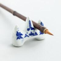 青花瓷笔搁文房四宝山字形笔架陶瓷笔架山笔托书法用品毛笔小笔架
