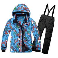 新款滑雪衣男童儿童滑雪服套装保暖学生