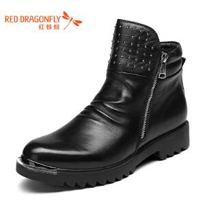 红蜻蜓男鞋 新品时尚铆钉侧拉链牛皮流行男靴 WTD62151/52 黑色 41