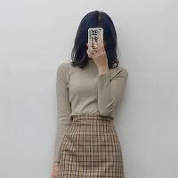 黑色半高领内搭纯色长袖打底针织衫女修身秋冬2018新款毛衣 燕麦色 现货