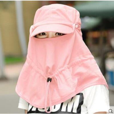 纯色挡风帽 遮阳帽子 女 防紫外线太阳帽 夏天 男女士 可折叠户外护脖骑车遮脸防晒帽