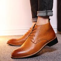 DAZED CONFUSED秋冬潮流男靴尖头英伦风马丁靴青少年高帮皮鞋布洛克男士皮靴