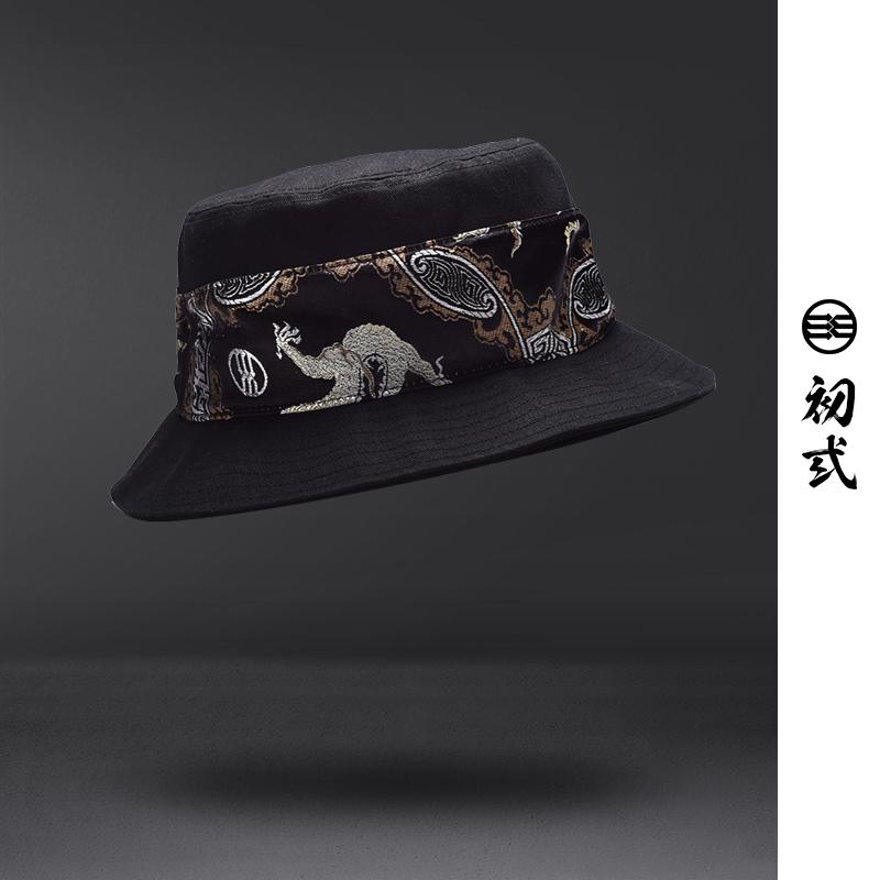 初弎中国风刺绣潮流圆顶休闲渔夫帽子男女个性时尚百搭盆帽