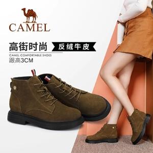 Camel/骆驼女鞋 2018冬季新品时尚英伦低跟马丁靴舒适保暖靴子女
