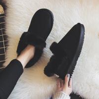 棉鞋女冬季加厚加绒一脚蹬学生韩版百搭豆豆雪地靴2018新款面包鞋