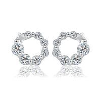 相思树 纯银耳钉 女 可爱星星圆圈镶钻耳环韩国时尚 潮流925银饰品仿过敏