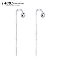 T400耳环韩国 气质女长款925银耳饰 防过敏个性简约耳线配饰 2765