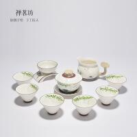 包邮 手绘整套功夫茶具 手工白瓷套装礼盒装