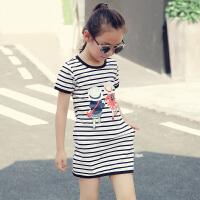 女童连衣裙夏季新款中大童纯棉中长款T恤裙韩版儿童短袖条纹裙子 图片色 160码 建议身高155cm左右