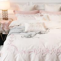 【官方旗舰店】欧式60s双股长绒棉磨毛刺绣全棉三色四件套纯棉保暖细腻床上用品