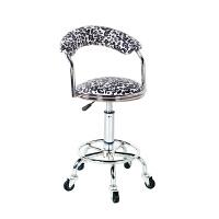 吧台椅现代简约家用旋转升降靠背椅子酒吧凳高脚圆凳子吧凳美容椅 半透白 豹纹围椅铁轮款