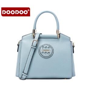 【支持礼品卡】DOODOO 女包2017新款秋季时尚包包欧美风OL简约手提包休闲单肩斜挎女士包 D6089