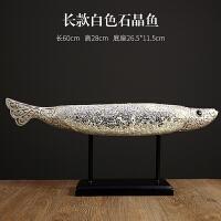 北欧家居装饰品摆件石晶鱼支架鱼美式客厅酒柜电视柜创意桌面摆设