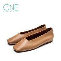 CNE2019春夏款温柔鞋船鞋方头平底芭蕾舞鞋奶奶鞋女单鞋9T00501