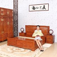 包邮简迪红木家具双人床1.8米大床特价卧室家具仿古花梨木富贵大床全实木床