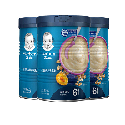 嘉宝燕麦西梅营养麦粉250g*3(较大婴儿幼儿6-36个月) 燕麦西梅营养麦粉250g*3