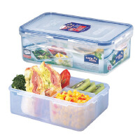 乐扣乐扣保鲜盒 塑料便当盒 饭盒1L 带分格HPL817C
