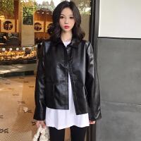 皮衣 女士PU翻领大口袋短款小皮衣2020年秋季新款韩版时尚女式清新甜美女装外套
