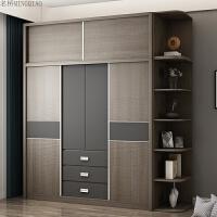 北欧板式衣柜小户型组装简约板式小衣柜衣橱家具经济型推拉门衣柜 +顶柜+边柜 2门